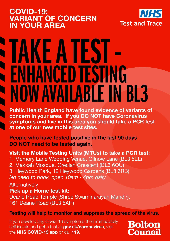 Variant of concern - enhanced testing