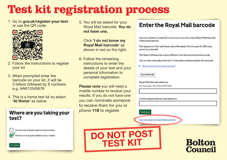 Test kit registration process
